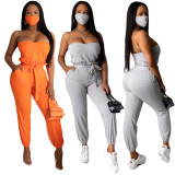 Solid Tube Tops Long Pants Two Piece Sets With Mask YIY-5198-MZ