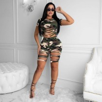 Trendy personality Sexy Camouflage Short Sleeve T-shirt Shorts Set AWN-5100