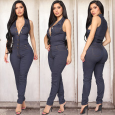 Denim Sleeveless Buttons Jeans Jumpsuits WZ-8297