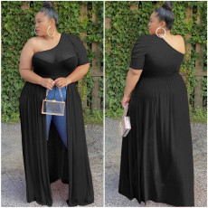 Plus Size 5XL Sexy Mesh One Shoulder High Low Tops ASL-6287