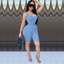 Solid Sleeveless Sexy Bodycon Rompers HM-6331