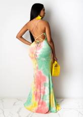 Sexy Tie Dye Cross Strap Backless Long Naxi Dress BS-1211