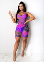 New Casual Fashion Printed Skinny Playsuits JH-178