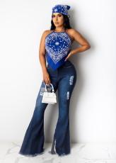 Denim Ripped Hole High Waist Flared Jeans LX-6013