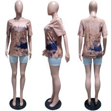 Tie Dye Letter Print Short Sleeve O Neck Loose T Shirt LSL-6365
