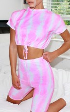 Casual Printed Short Sleeve Two Piece Shorts Set MA-340
