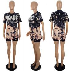 Casual Printed Short Sleeve O Neck T Shirt LSL-6364