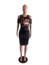 Black Poker Print Cold Shoulder Slim Dress OM-1152