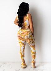 Sexy Printed Sleeveless Lace Up 2 Piece Pants Set With Mask LSL-6363