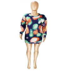 Fashion Sexy Long Sleeve Tie-dye Dress YFS-107
