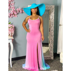 Plus Size 4XL Gradient High Split Slip Maxi Dress SHE-7201