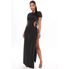 Plus Size 4XL Black High SPlit Lace Up Maxi Dress SHE-7198