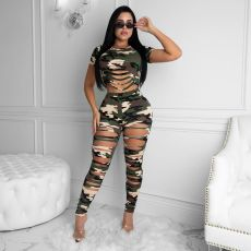 Camo Print Hole Hollow Two Piece Pants Set ZSD-0308