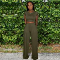 Fashion Casual Solid Color Short Sleeve Tops Shirt And Loose Pants Set KSN-8008