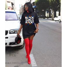 Streetwear Oversized Simple Casual Fashion Letter Print T Shirt Dress YFS-3534