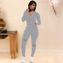 Casual Sports Hooded Hole Two Piece Pants Set ABF-4017