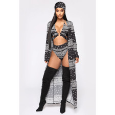 Sexy Printed 4pcs Bikinis Sets+Long Cloak+HeadScarf SHE-7167