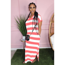Casual Striped V Neck Short Sleeve Maxi Dress YH-5167