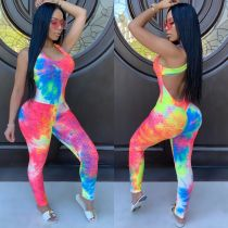 Tie Dye Print Sleeveless Backless Skinny Jumpsuits CHY-1245