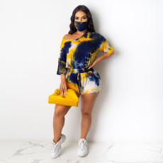 Tie Dye Print Casual Two Piece Shorts Set With Mask SH-3811