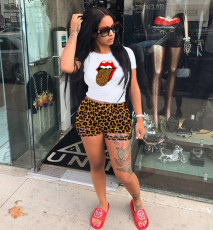 Leopard Print T Shirt Shorts Two Piece Shorts Set MIL-139