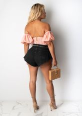Summer Casual Beach Scalloped Hot Denim Shorts LSD-8734
