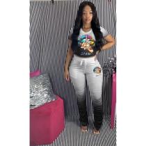Plus Size Fashion Casual Gradient Lip Print Stacked Pants Two Piece Set YFS-3533