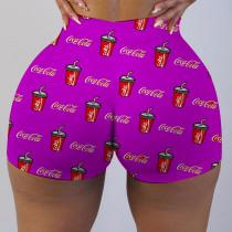 Plus Size Sexy Printed Bodycon Mini Shorts LUO-3090