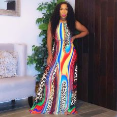 Colorful Leopard Strappy Backless Maxi Dress YM-9224
