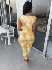 Sexy Ribbed Tie Dye Tie Up Sleeveless Jumpsuits YD-8257