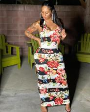 Plus Size Floral Print Sleeveless Maxi Dress MLF-8071