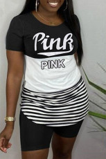 Plus Size Pink Letter Print T Shirt Shorts 2 Piece Sets HGL-1340