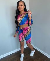 Colorful Snake Skin Print Two Piece Shorts Set ARM-8209