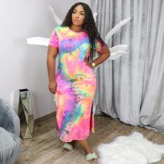 Plue Size Tie Dye Print Short Sleeve Maxi Dress HGL-1347