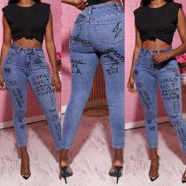 Denim Printed Skinny Long Jeans Pencil Pants LSD-6008