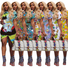 Plus Size Cartoon Print Short Sleeve Irregular Dress HGL-1339