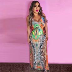 Colorful Printed Sleeveless Slim Maxi Dress MLF-8044