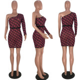 Sexy Chain Print Mesh One Shoulder Mini Dress With Belt MLF-8020