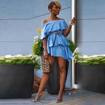 Blue Slash Neck Ruffled Irregular Mini Dress MLF-8047