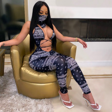 Sexy Printed Sleeveless Hollow Jumpsuits With Mask HGL-1391