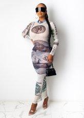 Sexy Mesh Dollar Print Long Sleeve Maxi Dress YS-8555