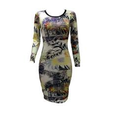 Floral Print Long Sleeve Slim Midi Dress OY-6206
