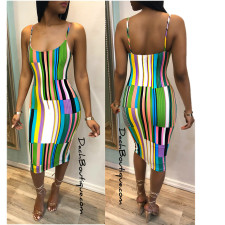Plus Size Colorful Stripe Midi Slip Dress MLF-8011