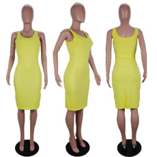 Yellow Sleeveless Split Bodycon Dress AWF-0001