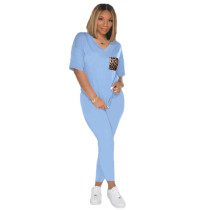 Casual V Neck Short Sleeve Two Piece Pants Set AWF-0011