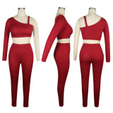 Sexy Sports Solid Color One-shoulder Top Pants Sets TE-4076