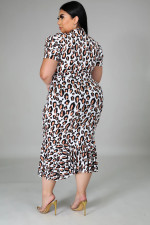 Plus Size 5XL Leopard Short Sleeve Midi Dress BMF-001
