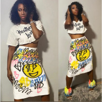 Graffiti Print Short Sleeve Split Midi Skirt 2 Piece Sets AWF-0006