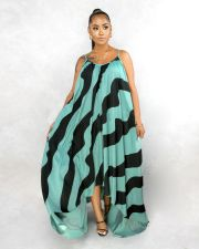 Plus Size 5XL Striped Loose Irregular Slip Long Dress BMF-007