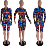 Printed Street Fashion Zipper Tight Sexy Playsuits YSU-8035